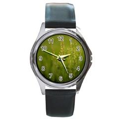 Grass Round Metal Watch (Silver Rim)