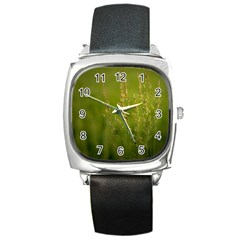 Grass Square Leather Watch