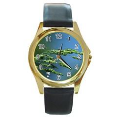 Waterdrops Round Metal Watch (Gold Rim)