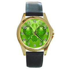 Magic Balls Round Metal Watch (Gold Rim)