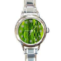 Green Bubbles  Round Italian Charm Watch