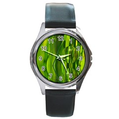 Green Bubbles  Round Metal Watch (Silver Rim)