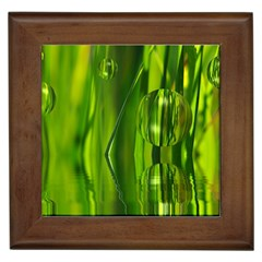 Green Bubbles  Framed Ceramic Tile