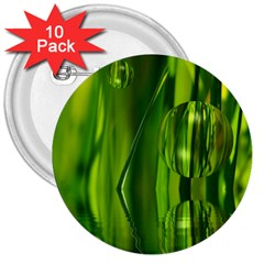 Green Bubbles  3  Button (10 pack)