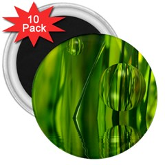 Green Bubbles  3  Button Magnet (10 Pack)