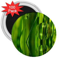 Green Bubbles  3  Button Magnet (100 pack)
