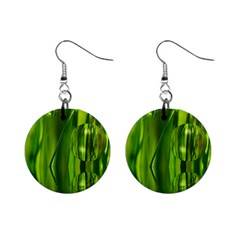 Green Bubbles  Mini Button Earrings