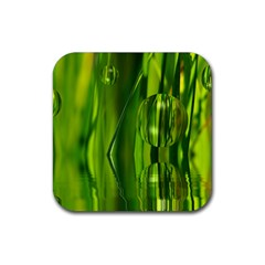 Green Bubbles  Drink Coasters 4 Pack (Square)