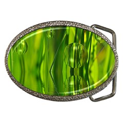 Green Bubbles  Belt Buckle (oval)