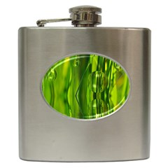 Green Bubbles  Hip Flask