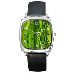 Green Bubbles  Square Leather Watch
