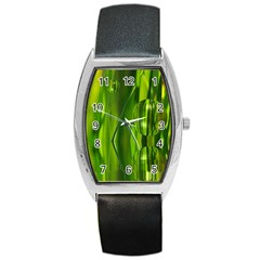 Green Bubbles  Tonneau Leather Watch