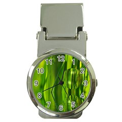 Green Bubbles  Money Clip With Watch