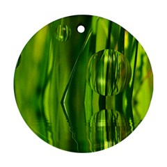 Green Bubbles  Round Ornament (two Sides)
