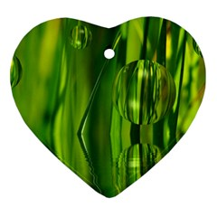 Green Bubbles  Heart Ornament (two Sides)