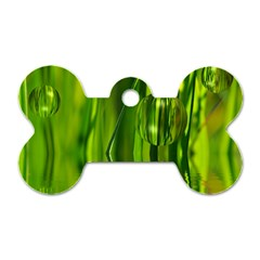 Green Bubbles  Dog Tag Bone (Two Sided)