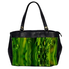 Green Bubbles  Oversize Office Handbag (One Side)
