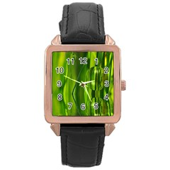 Green Bubbles  Rose Gold Leather Watch