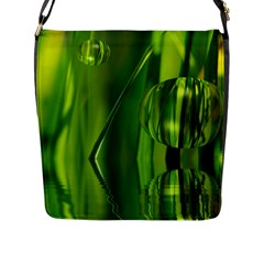 Green Bubbles  Flap Closure Messenger Bag (Large)