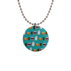 Time for coffee Button Necklace