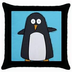 Hello Penguin Black Throw Pillow Case