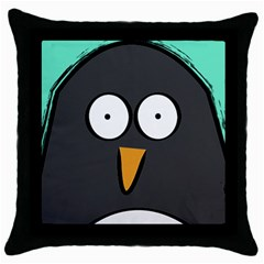 Penguin Close Up Black Throw Pillow Case