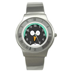 Penguin Close Up Stainless Steel Watch (Unisex)