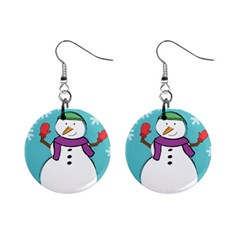 Snowman Mini Button Earrings