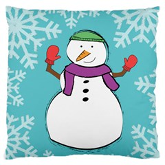 Snowman Large Cushion Case (Single Sided)