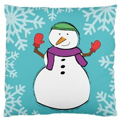 Snowman Large Cushion Case (two Sided)