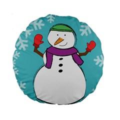 Snowman 15  Premium Round Cushion