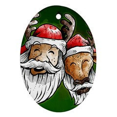 Deer Santa, Merry Christmas Oval Ornament (Two Sides)