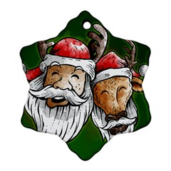 Deer Santa, Merry Christmas Ornament (snowflake)