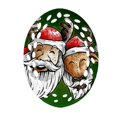 Deer Santa, Merry Christmas Oval Filigree Ornament (two Sides)