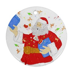 Santa Surprise Round Ornament (two Sides)