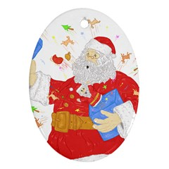 Santa Surprise Oval Ornament (Two Sides)