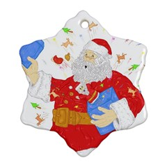 Santa Surprise Snowflake Ornament