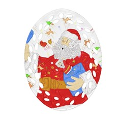 Santa Surprise Oval Filigree Ornament (two Sides)