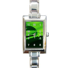 Green Drop Rectangular Italian Charm Watch
