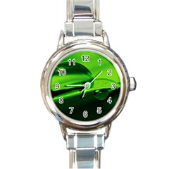 Green Drop Round Italian Charm Watch