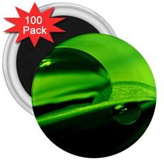 Green Drop 3  Button Magnet (100 pack)