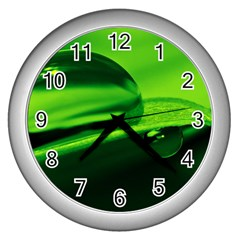 Green Drop Wall Clock (Silver)