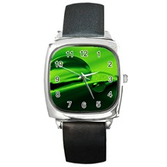 Green Drop Square Leather Watch