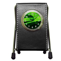 Green Drop Stationery Holder Clock