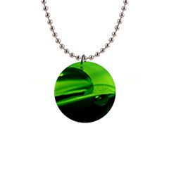 Green Drop Button Necklace
