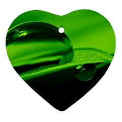 Green Drop Heart Ornament (Two Sides)