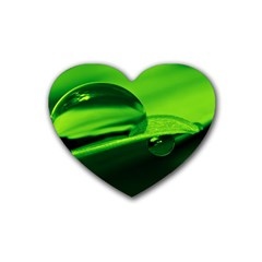 Green Drop Drink Coasters (heart)