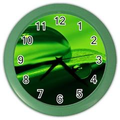 Green Drop Wall Clock (Color)