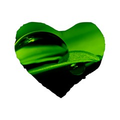 Green Drop 16  Premium Heart Shape Cushion