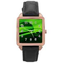 Green Drop Rose Gold Leather Watch